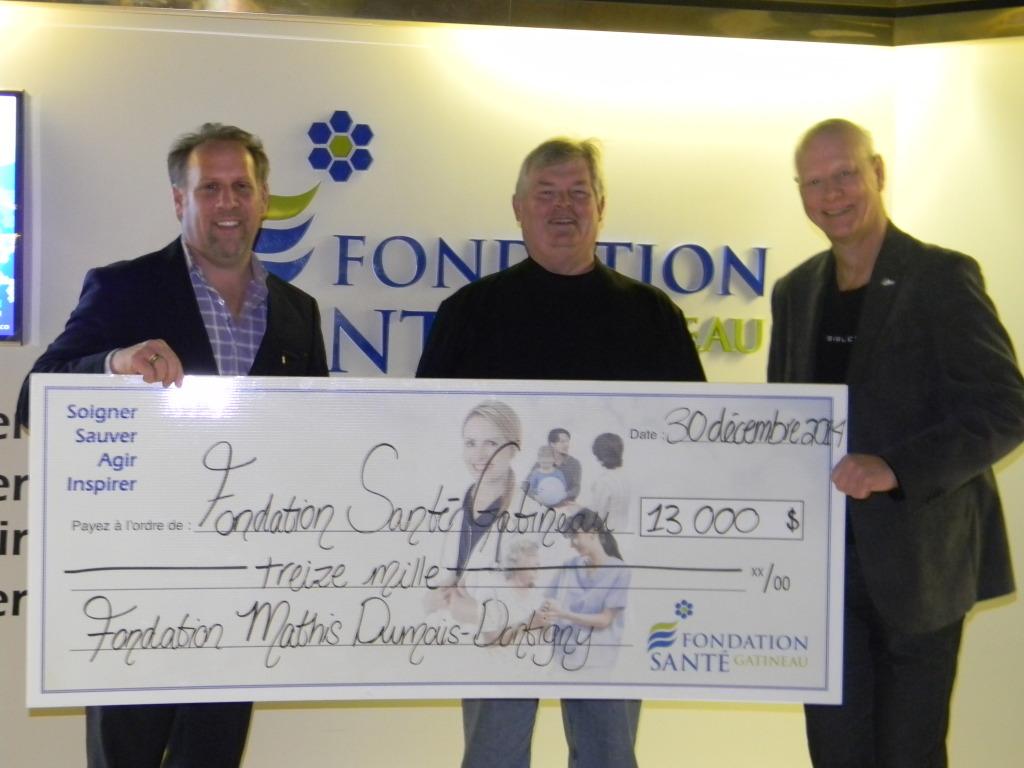 Remise de chèque - Fondation Mathis Dumais-Dontigny